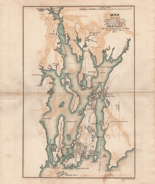 Mapf of part of Rhode Island Shewing the Positions of the American & British Armies at the Siege of NEWPORT and the subsequent Action on the 29th of August 1778