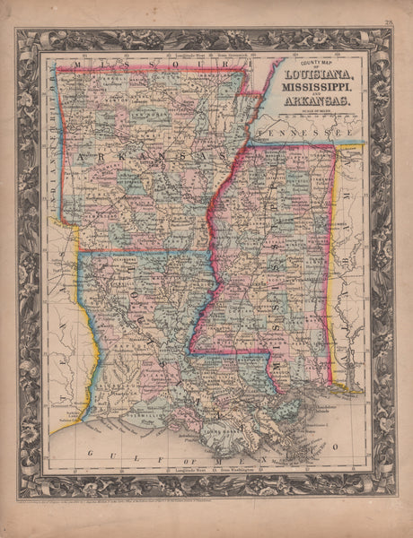 County Map of Louisiana, Mississippi, and Arkansas