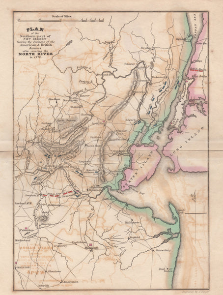 PLAN of the Northern part of NEW JERSEY Shewing the positions of the American & British Armies after crossing the North River in 1776