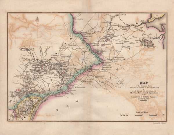 Map of the Country from Raritan River in East Jersey to Elk Head in Maryland Shewing the several operations of the American & British Armies in 1776 and 1777