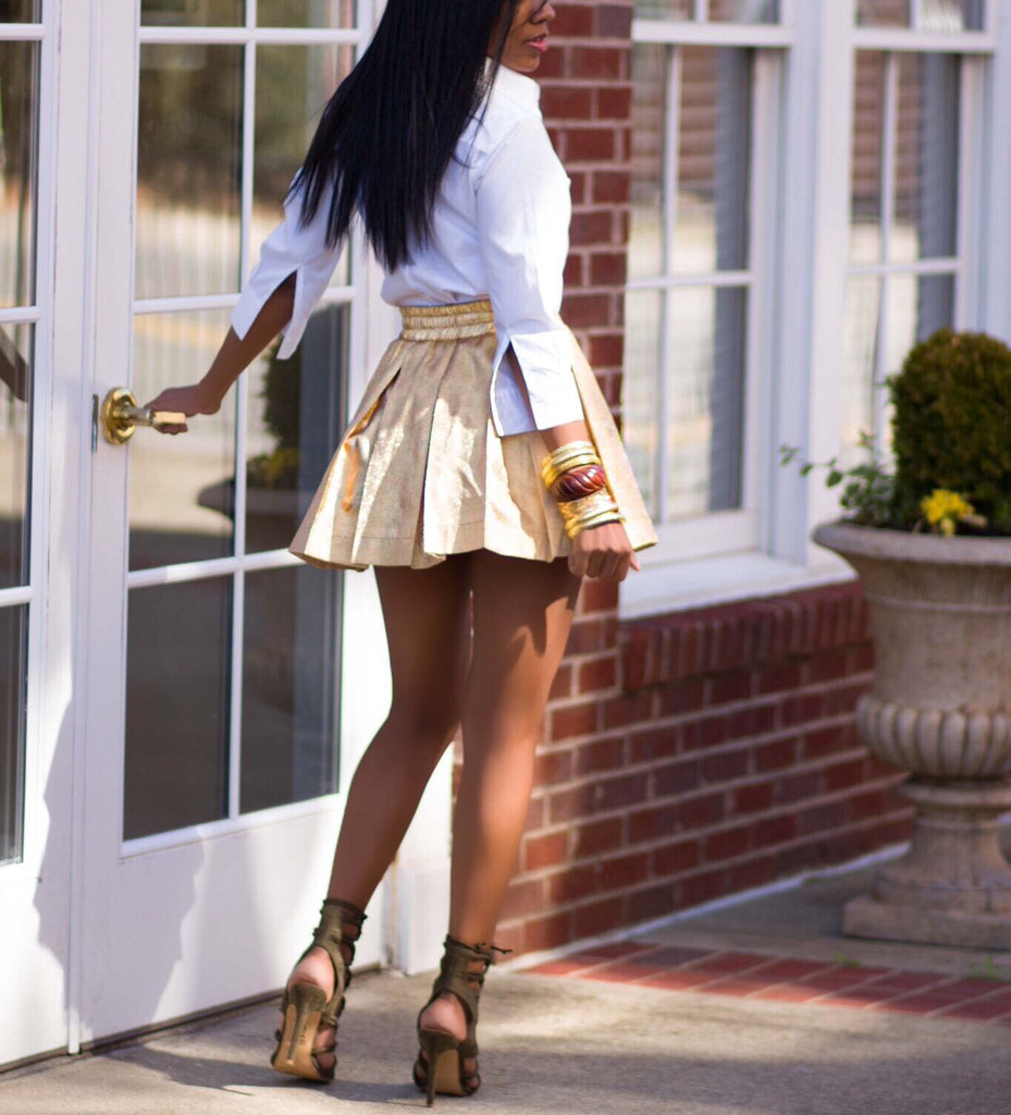 FIERCE 14 Golden Sparkle Pleated High Waist Skirt