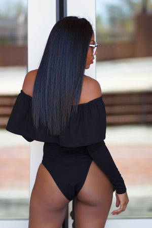 COURAGEOUS Black Off The Shoulder Peplum Bodysuit SMALL