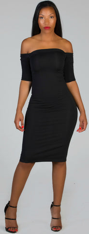 POETIC Black Midi Dress