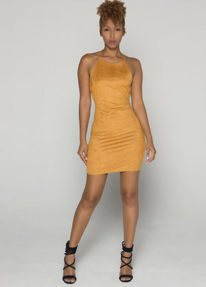 ENTICING Caramel Suede Dress