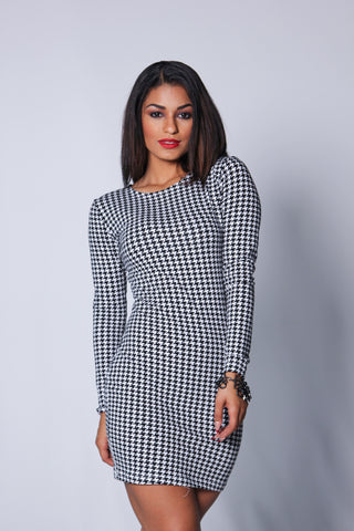(SAMPLE) Black and White Houndstooth Mini Dress XS/S/M