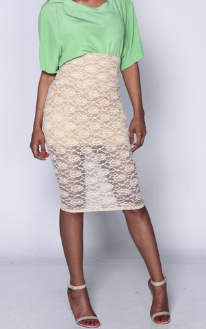 sample- xs/s Tan iAMMI Lace High waist midi skirt