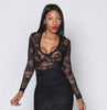 (SAMPLE) Black iAMMI Deep Long Sleeve Lace Blouse L/XL