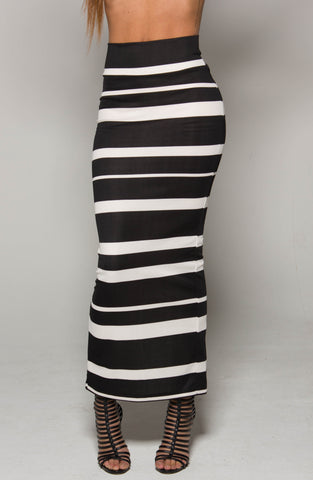 Black Striped Maxi Skirt SMALL