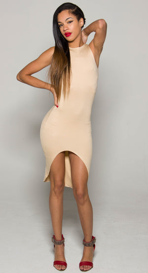 Tan iAMMI Asymmetrial Dress XSMALL/SMALL/MEDIUM