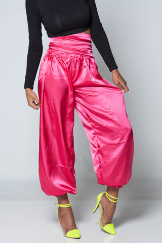 (SAMPLE) Silk Pink High Waist iAMMI Pants SMALL/MEDIUM