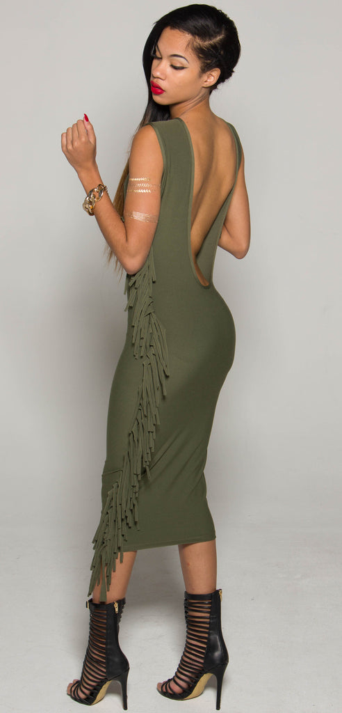 Green Backout Fringe Dress (C)