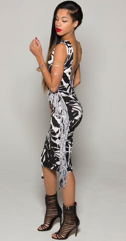 Black & White Print Fringe Dress (C)