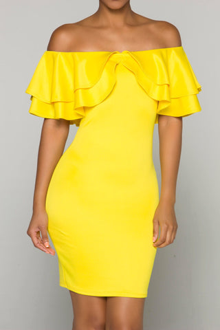 DAZZLING Yellow Ruffle Dress