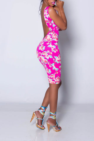 FABULOUS iAMMI Floral Low Back Bodycon Dress