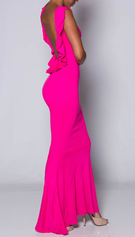 POWERFUL Pink Mermaid RuffleBack Dress