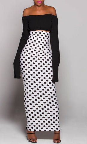 GLAMOROUS PolkaDot Long High Waist Maxi Skirt