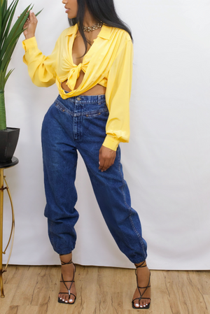 Yellow vintage crossover blouse (S/M/L)