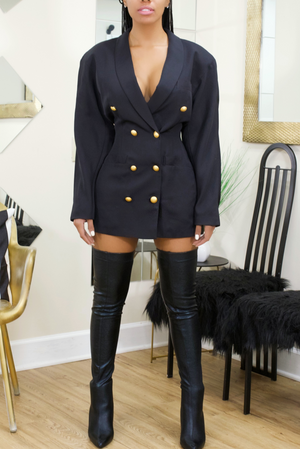 Navy Double Breasted Gold Button Blazer Dress