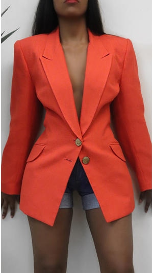 Orange vintage Blazer Gold Buttons