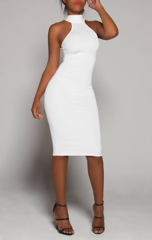 ELEGANT White Turtleneck Fitted Dress LARGE