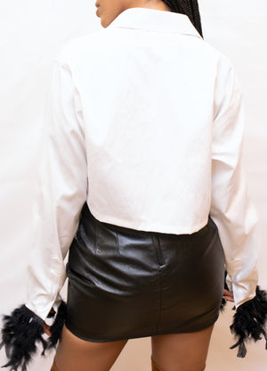 White crop button up black feather wrist blouse