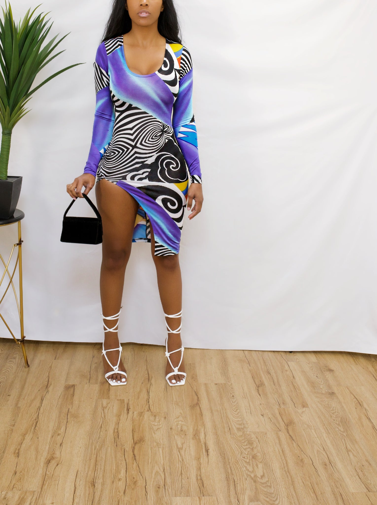 Body con Zebra abstract colorful leg split Dress (Xs/S