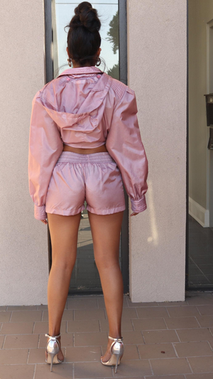 Pink vintage two piece hoody sweatsuit
