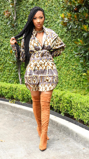 African print button shirt Dress