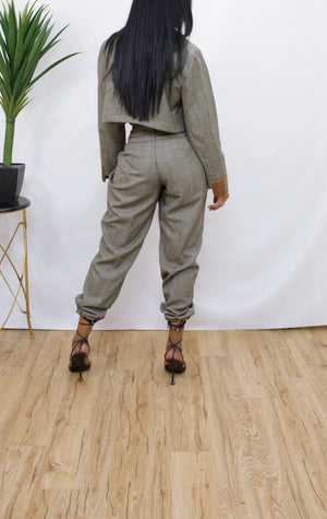 Plaid Brown Crop Jacket two piece Pants set S/M