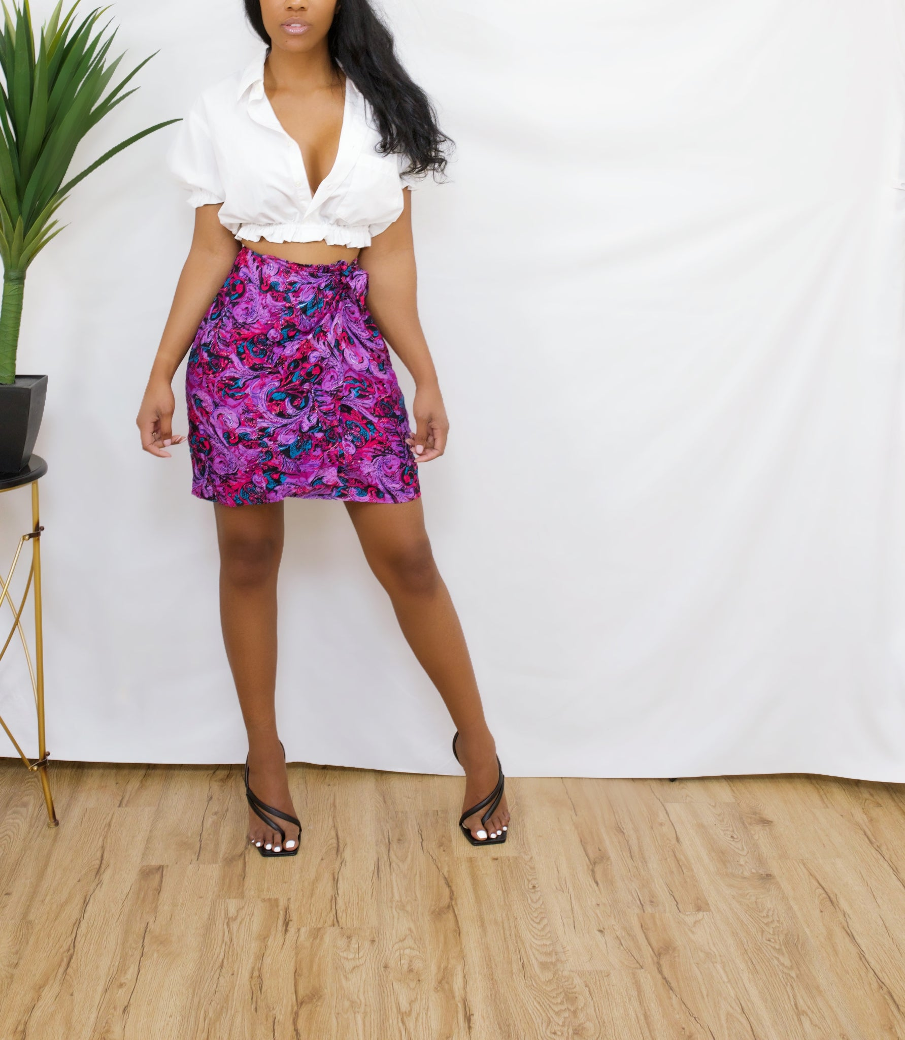 Purple blue rain mini print wrap skirt S/M/
