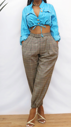 High waist Brown vintage plaid jogger pants