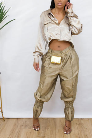 Gold Silk vintage crop blouse (S/M/L)