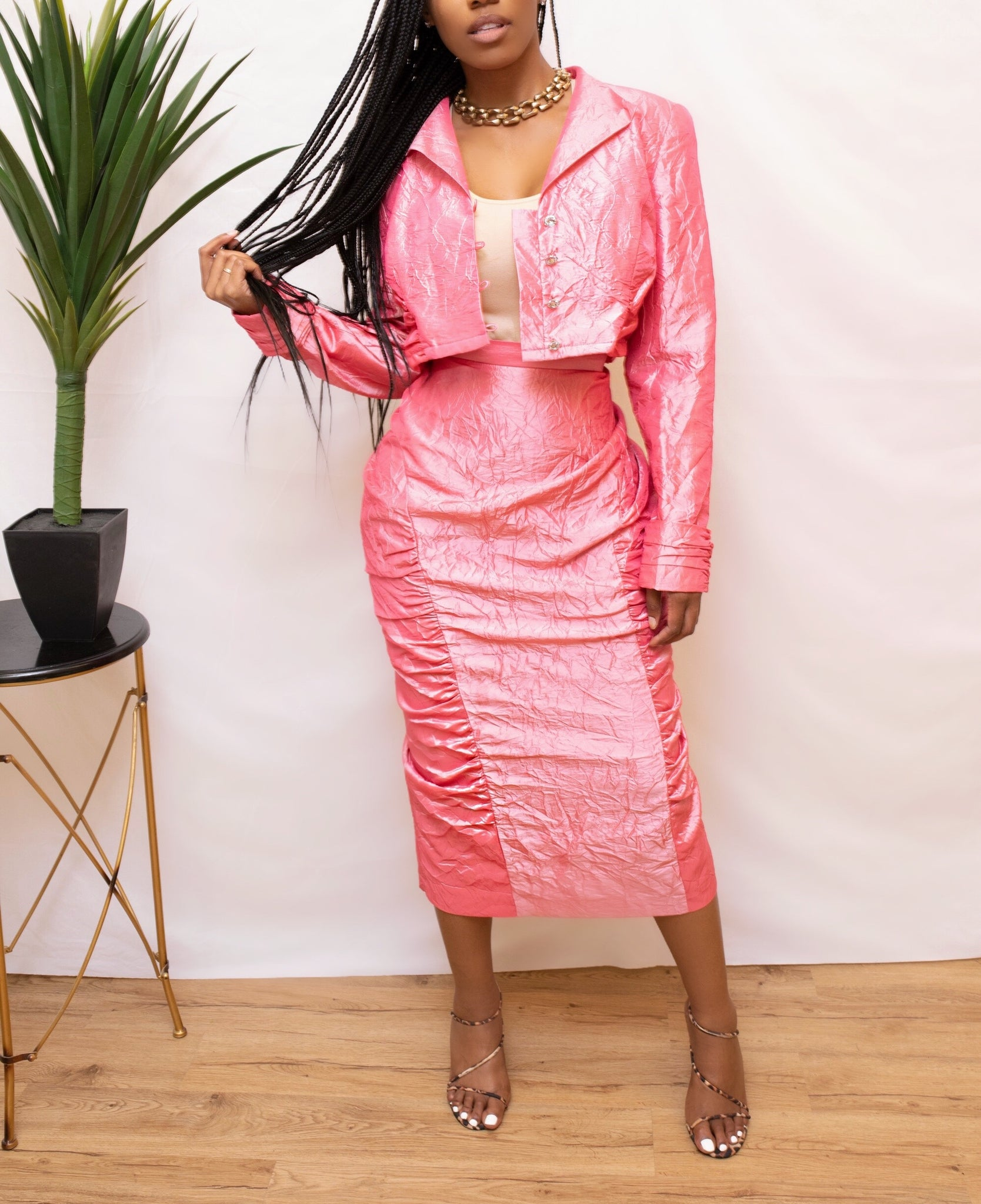 Pink vintage sweat suit Crop Jacket two piece Skirt set (Large)