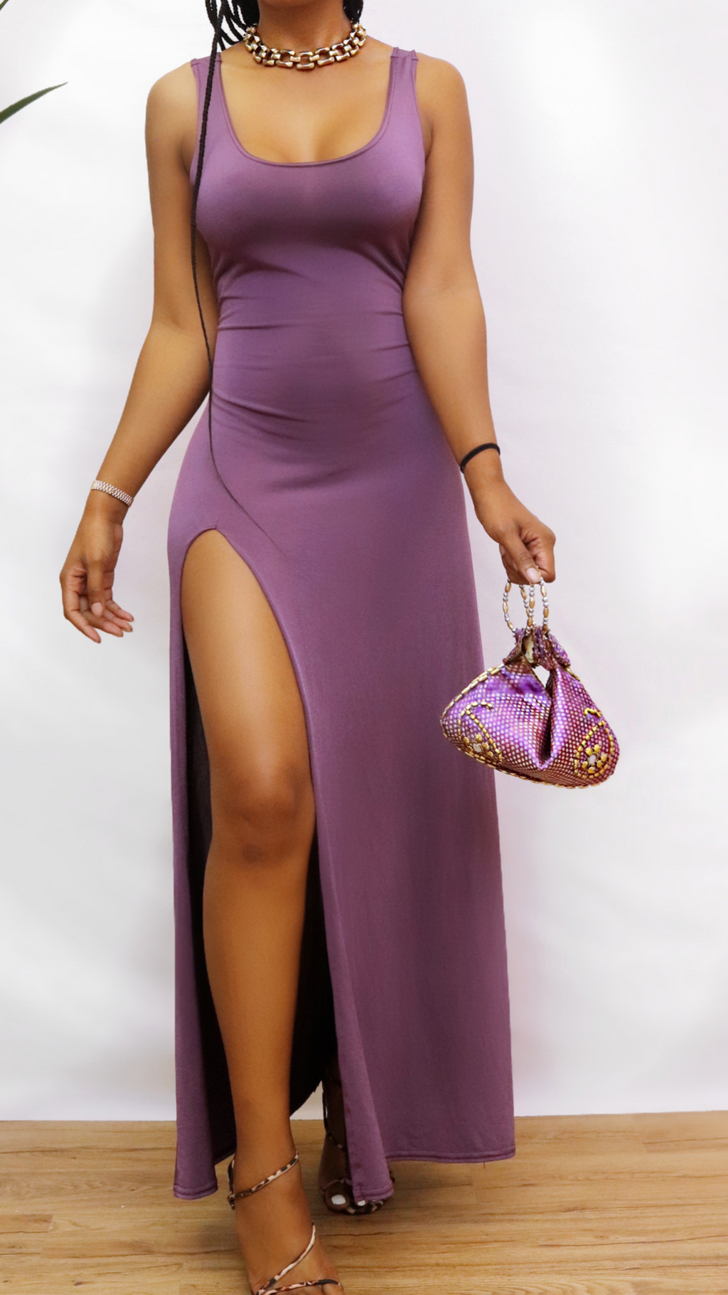 Purple leg split dress