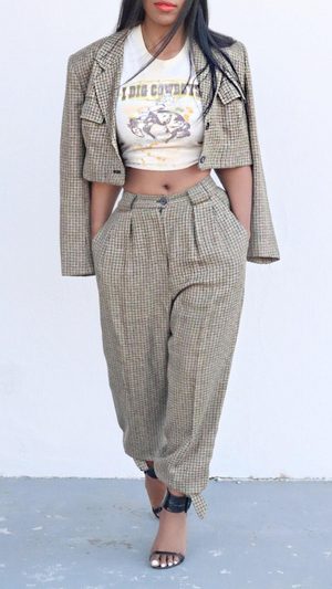 Brown plaid vintage crop pants two piece set