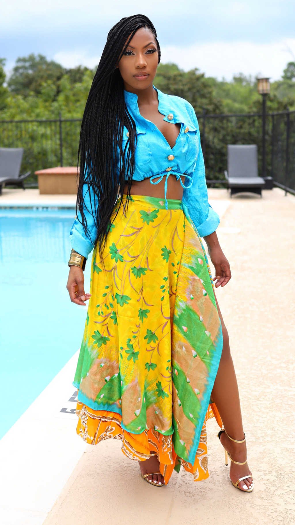 Reversible tropical print wrap skirt