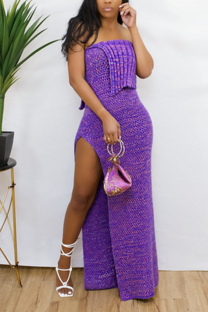 Purple knit leg split Dress (S/M/)