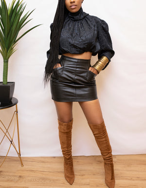 Black silk vintage turtleneck long sleeve crop top