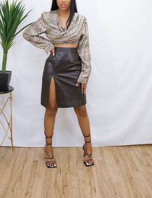 Brown leather vintage mini skirt (M/L 10)