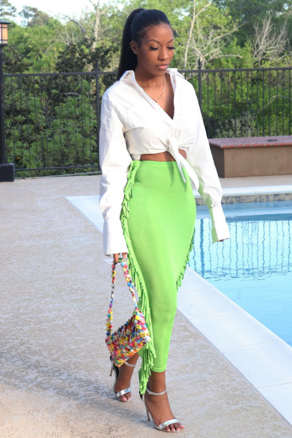 lime green skirt midi skirt