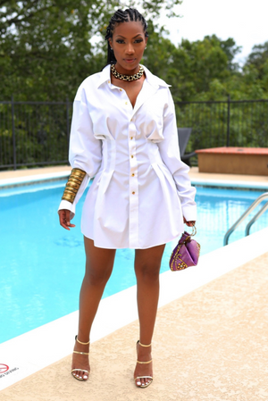 White Button up shirt Dress