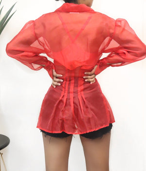 Red vintage Mesh Puff sleeves button up blouse