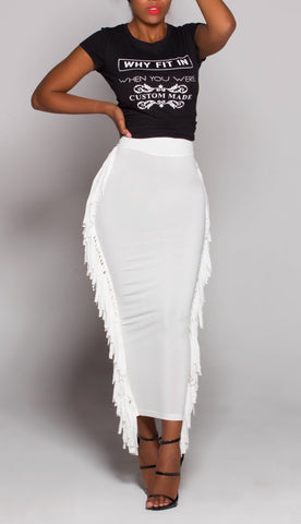 CONFIDENT White iAMMI Fringe Skirt