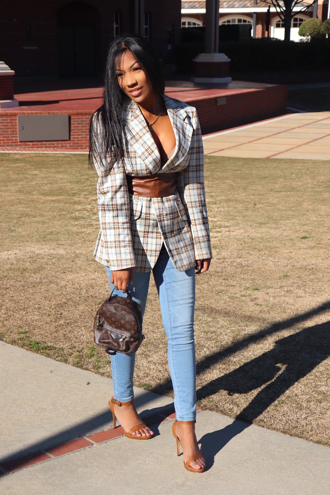 Blue and Brown Plaid oversized blazer