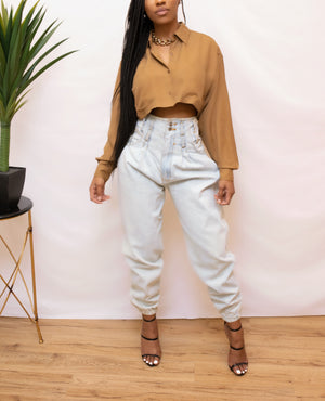 Caramel Crop long sleeve vintage blouse
