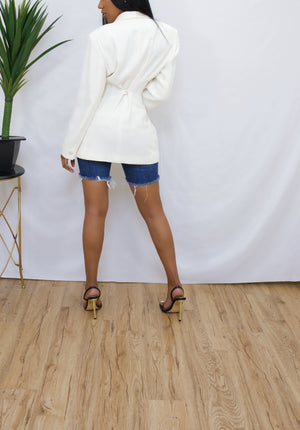 Cream Cut out gold safety pin Blazer (S/M)