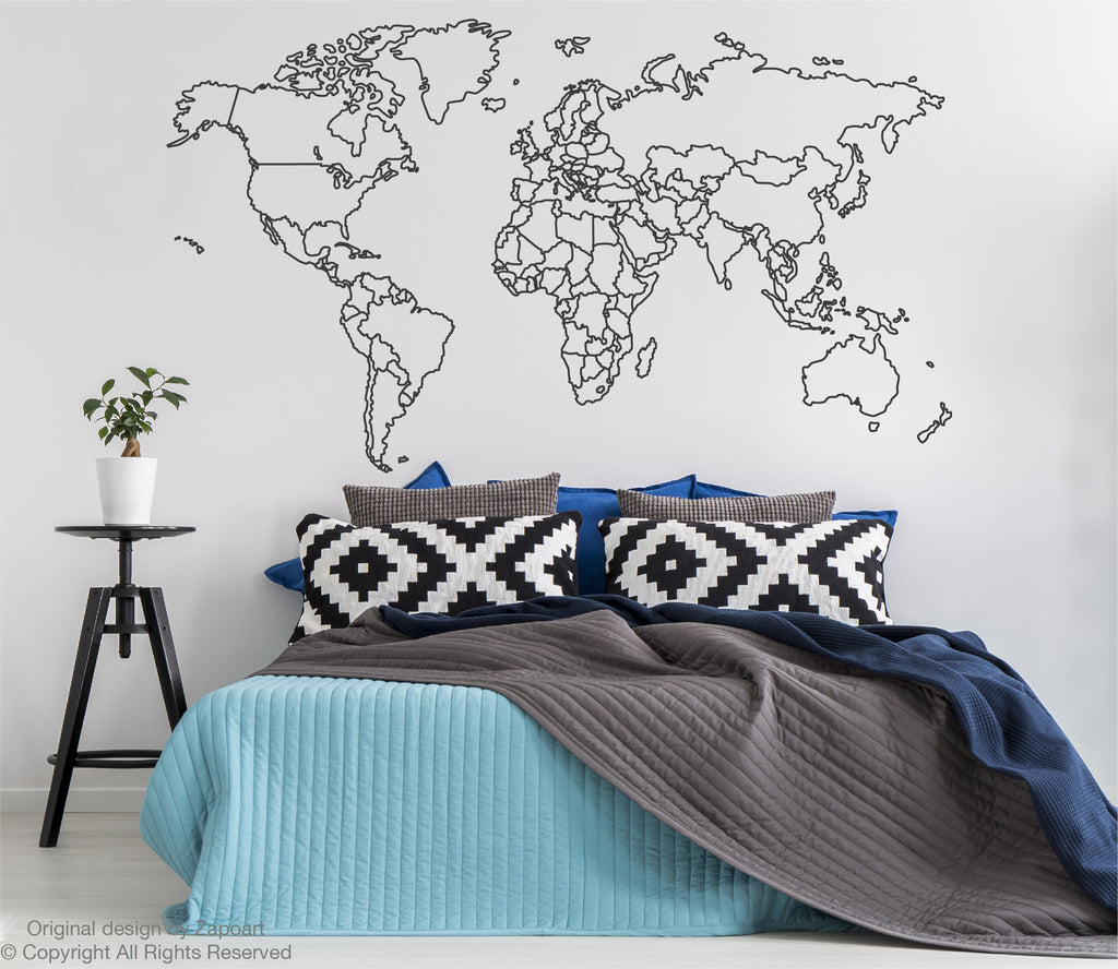 World map with countries borders outline zapoart world map with countries borders outline gumiabroncs Image collections