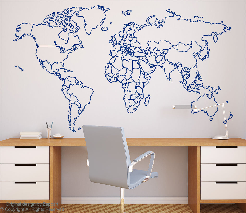 World map with countries borders outline zapoart world map with countries borders outline sciox Choice Image