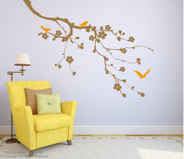 Cherry Blossom Branch with Birds
