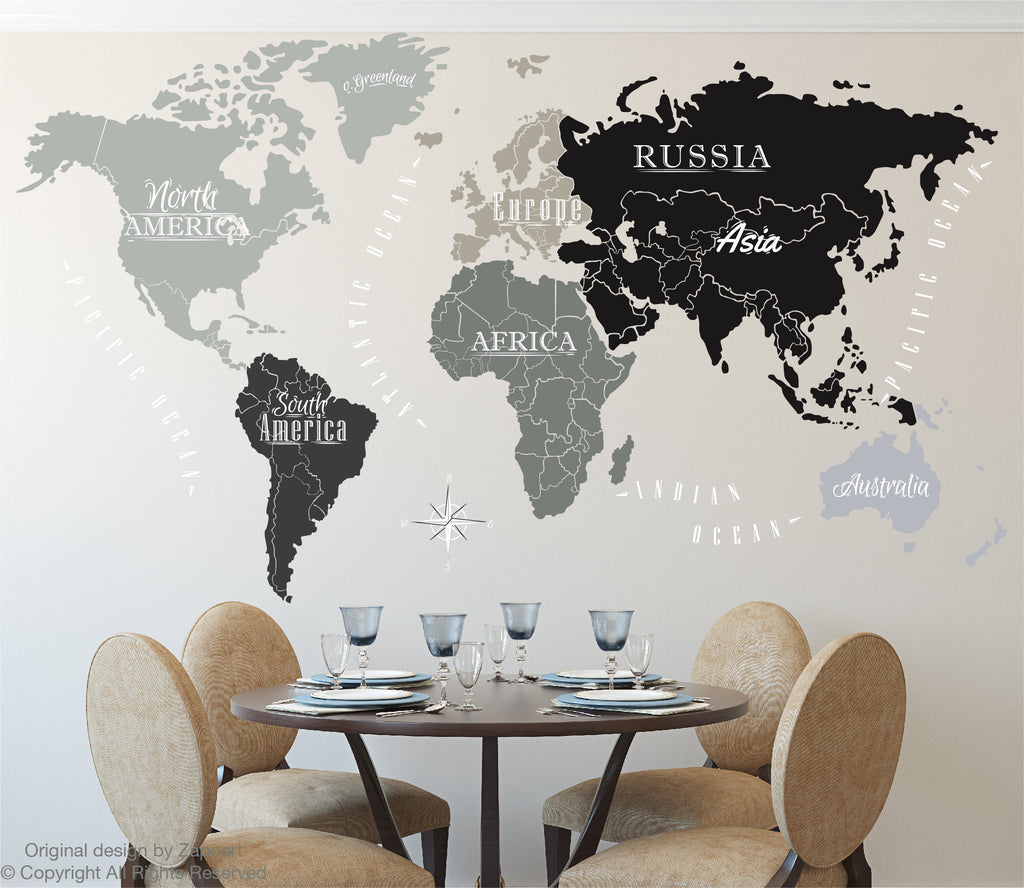 World map with continents ocean names zapoart world map with continents ocean names gumiabroncs Image collections